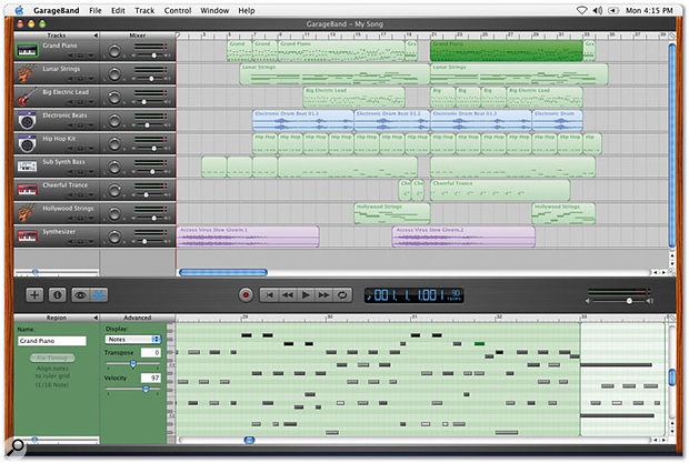 Garage Band uses a one-window interface. Here you can see the selected MIDI part from the main arranging area being edited in the lower editor section.