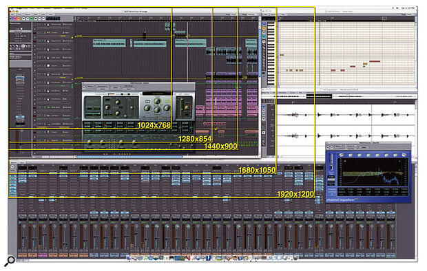 Logic Pro 7 looks great on Apple 30-inch Cinema Display, and from this diagram you can appreciate how much you can see on the 30-inch display compared with Apple's 12-inch (1024x768), 15-inch (1280x854), 17-inch (1440x900), 20-inch (1680x1050) and 23-inch (1920x1200) displays.