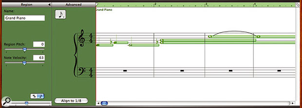 Here you can see GarageBand2's notation view. Notice how the program illustrates the MIDI lengths of notes when they're selected, and the automatic cleaning up of overlapping notes.