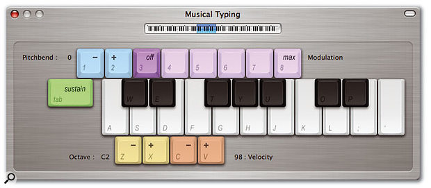 GarageBand2 features a slightly more colourful version of a feature similar to Logic's Caps Lock Keyboard, enabling you to use your QWERTY keyboard as a musical input device.