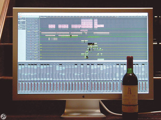 If you can afford to drink wine like this, you should be able to afford Apple's impressive 30-inch Cinema display, seen here showing Logic Pro 7.