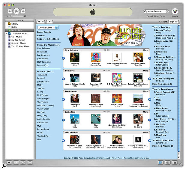 Downloads done right: Apple's iTunes Music Store gives US iTunes users the ability to buy music online and have the tracks downloaded directly to their iTunes library.