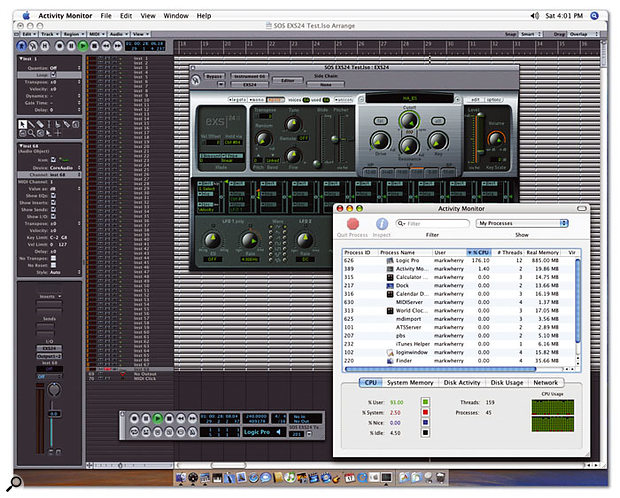 Here you can see the dual-2.7GHz Power Mac running EXS24 in Logic Pro 7.1. Notice in Activity Monitor that the Dashboard Widgets, such as Calculator, aren't using any CPU resources.