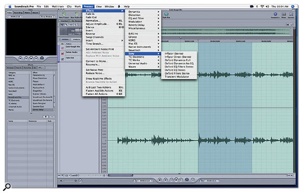 Soundtrack Pro supports third-party effects in Audio Units format, and allows you to combine them and apply them off-line as well as in real time.
