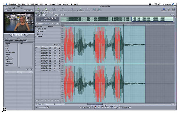 The Waveform Editor's Analysis functions include a clipping detector.