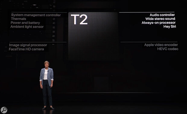 The T2 controller chip, as introduced by Apple's Laura Lagrove, VP of Hardware, handles many system tasks, including digital signal processing to enhance the iMac's built-in speakers.
