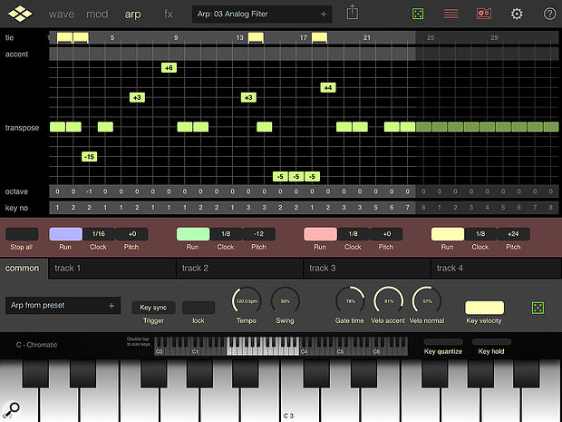 Addictive Pro's four-track arpeggiator has parameter overrides for each track, giving it considerable poke.