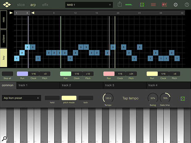 The arpeggiator/step-based pattern sequencer, with its four separate playback heads, can create rhythmic magic even from the most mundane of original audio sources.