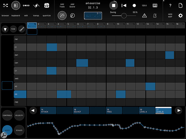 The editor includes the ability to draw in controller automation based on names extracted from the MIDI template library.