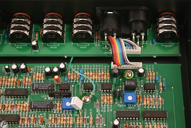 Here you can see the two gain-control elements used in each channel of the ART TCS: a VCA (voltage-controlled amplifier) on the left and an LED-based optical component on the right.