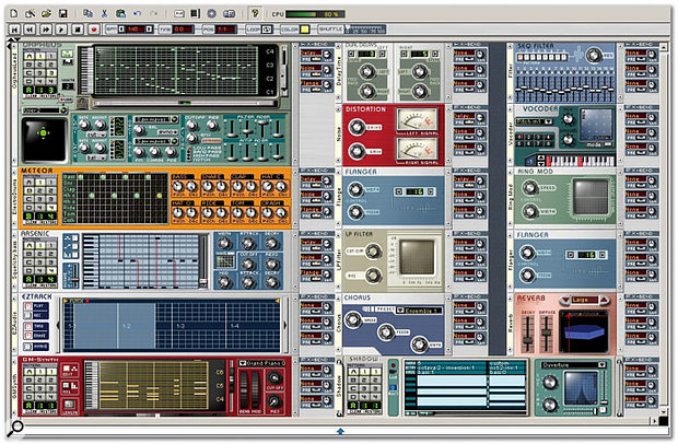 A fair overview of two racks' worth of Storm v3.0 modules. All the effects are present, plus a selection of sound makers. That's the new GMSynth at the bottom of the left rack. Incidentally, you can add, and fill, as many racks as you like in the new version, but not many computers would be able to keep up!