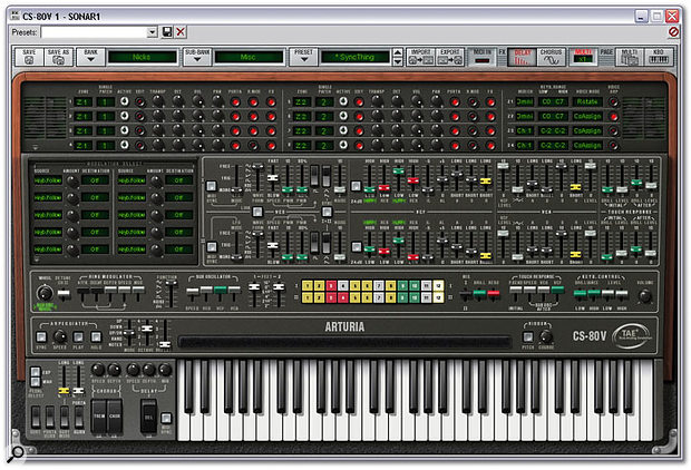 The most complex 'view' of CS80V, with the virtual top panel open to reveal the software's modulation matrix, keyboard-zoning and voice-assignment controls.