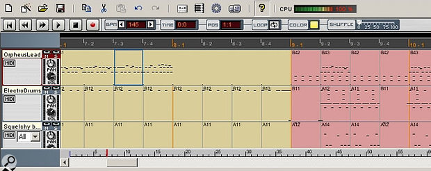 A close-up look at the sequencer: the random-looking dots are actually MIDI data in the track. You can also see pattern changes on the tracks, and MIDI-input selector buttons in the track list column.