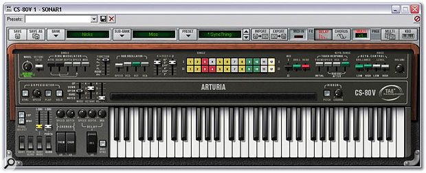 CS80V's more compact keyboard-only view gives you access to a more limited crop of patch-selection and editing controls, and disallows access to many of the main synth parameters, but saves considerably on monitor space!