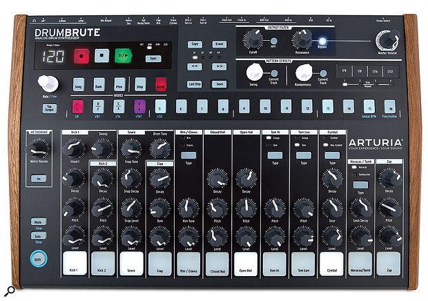 The DrumBrute's front panel measures 418 x 276mm.