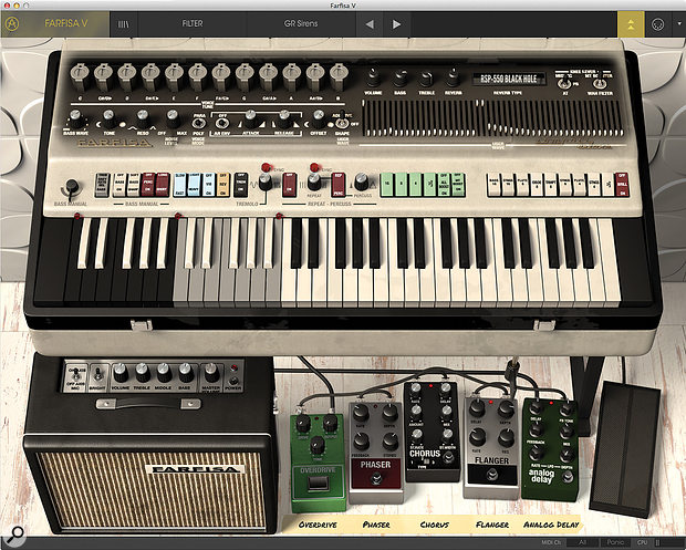 Revealing the Advanced Controls shows that there's much more to Farfisa V than is immediately apparent, including an enhanced bass section, additive synthesis and the ability to draw your own waveforms.