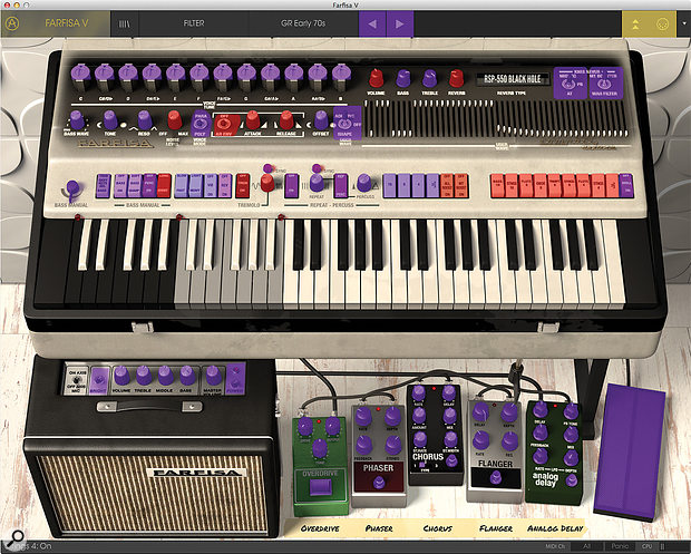 Almost every parameter within the organ, the stompbox effects and the amplifier can be controlled via MIDI, whether for programming, real-time control or automation.