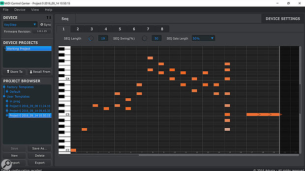 The MIDI Controller Centre's note editor.