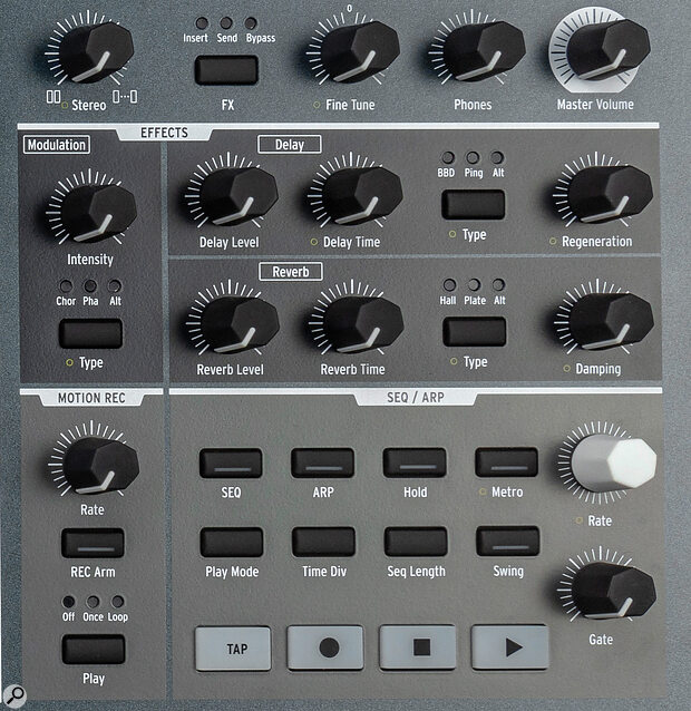 PolyBrute's Arpeggio and Sequencer controls.