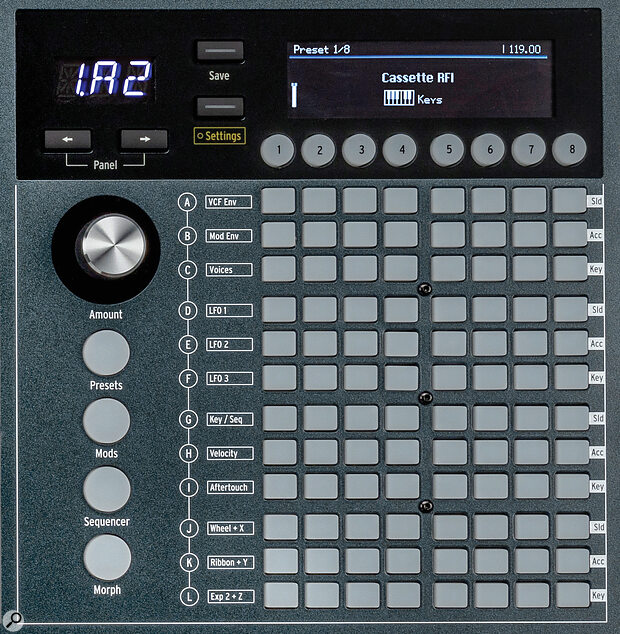 Arturia PolyBrute's Modulation Matrix controls.