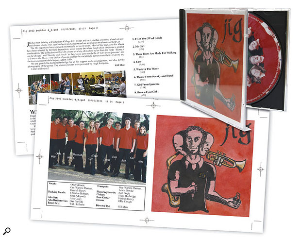The CD booklet artwork proofs for Cheltenham College band Jig, and the finished product fresh from the pressing plant.