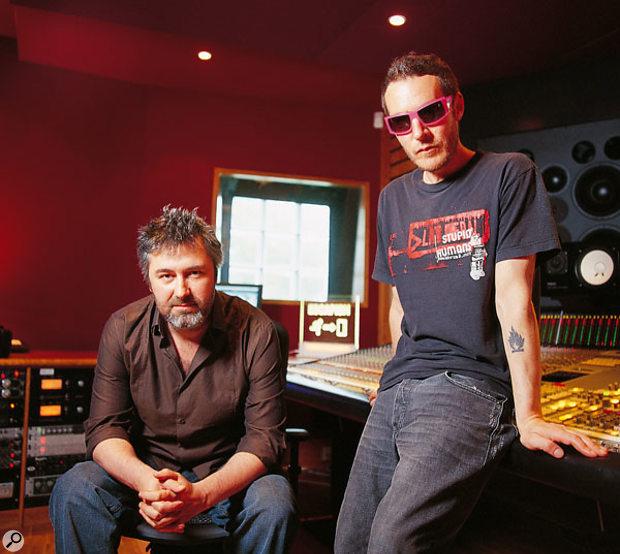 Neil Davidge (left) and Robert Del Naja in their new studio, June 2005.