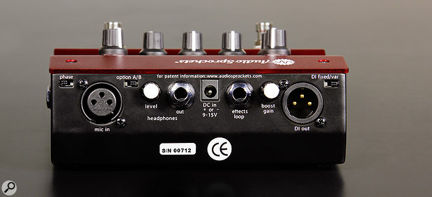 On the back, the mic input is joined by a headphone output, an effects loop and a line‑level output, making the Tone Dexter easy to incorporate into most setups.