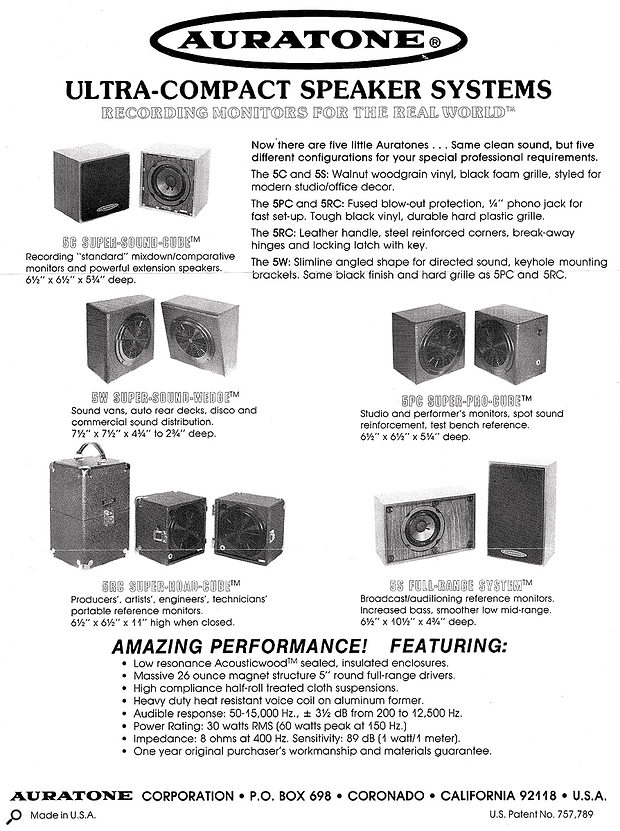 An advert for the original Auratone 5C.