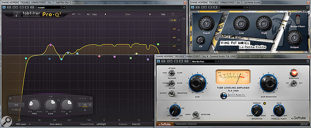 This screen shows the final EQ curve applied to Shane's track (after applying a  high-pass filter and manually adjusting the gain of selected nodes) and the rest of the mastering chain.