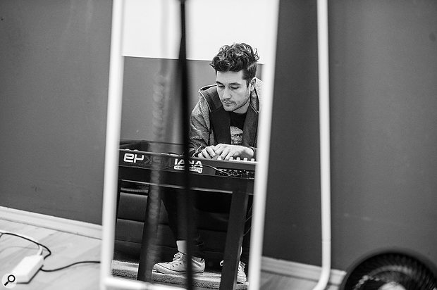 Cologne, March 2014: Bastille frontman Dan Smith lays down a  keyboard part, in one of many impromptu sessions from the band's years on the road.