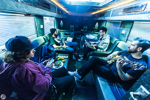 Another day, another show, another session in the tour bus: Bastille at work in Edinburgh, February 2014.