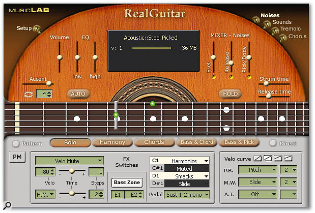 Music Lab Real Guitar 2L's main screen, with the plug-in in Solo mode -- note the Capo placed on the fifth fret.