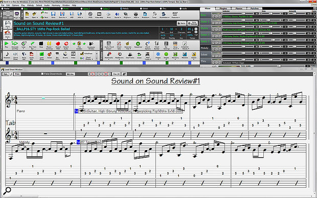 Screen 2B: The Leadsheet view, which can show multiple instruments and lyrics for viewing and printing.