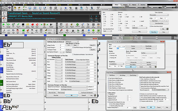 Screen 10: The Chord Sheet right-click menu opens a  small window shown on the left, which can access all the important tools for composition and performance factors, several of which are shown in this composite image.