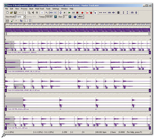 The Master Track (at the top of the screenshot) is key to Beat Quantizer's multitrack 'slice and quantise' capabilities.