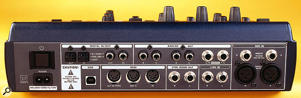 The rear panel is equally busy, as befits an interface with this many options. The two mic pres are accessed on the right via the XLRs, and the insert points are also to be found here. The multiple analogue outputs are in the centre above, and the digital I/O is to the left of these. Underneath are the USB connection, and the control-room and line-in jacks.