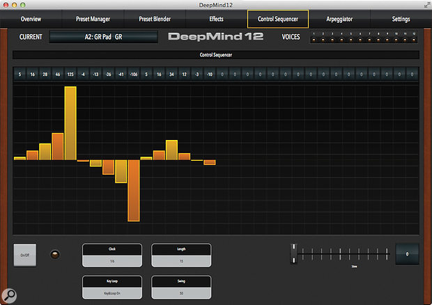 The control sequencer in the software editor.