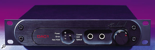 The DAC1's front panel has few features, although more than most D-A converters! The main one, on the right, is the large output level control. The recess in the centre contains a switch that determines the connector used on the rear panel for incoming digital audio, whether co-axial, XLR or optical. To the left of this are three status LEDs. The main two jacks are headphone outs driven by the dedicated internal Benchmark headphone amplifier.