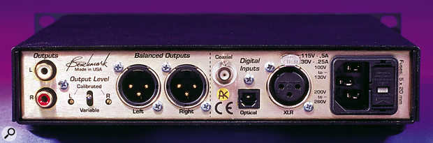 The rear panel houses the main connections, including the unbalanced phono jacks and the balanced XLR analogue outs. Trim pots for the Left and Right output channels are located between the phonos and XLRs. On the right-hand side are the digital inputs in co-axial, optical, and XLR (AES-EBU) formats. The final connector on the right is the IEC to the switchable internal power supply — a welcome inclusion.
