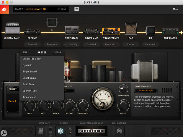 A new feature in Amp 2 Pro emulates the dynamic effect that power supplies and transformers have on atube amp.