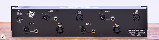 The balanced audio I/O are via XLRs on the rear panel, where there's also a  five-pin connector for the external line-lump power supply.