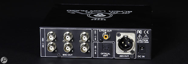 The Micro Clock MkIII sports six BNC outputs, as well as optical and coaxial S/PDIF and AES sockets.