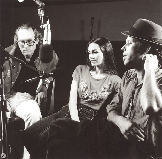 Bones Howe, Crystal Gayle and Tom Waits during the recording of 1982's One From The Heart soundtrack.