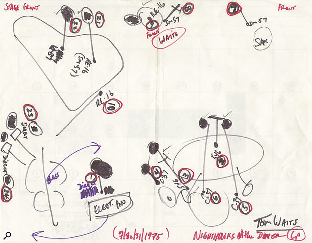 Bones Howe's original layout diagram for the live recording that would become Nighthawks At The Diner.