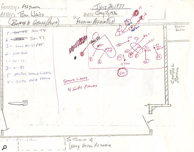 Bones Howe's layout diagram for the Foreign Affairs sessions at Wally Heider Studio 4, showing the layout for the jazz band recordings.