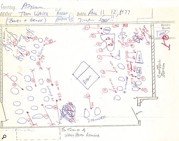 Diagram for the Foreign Affairs sessions at Wally Heider Studio 4 showing the layout used for the orchestral track recordings.