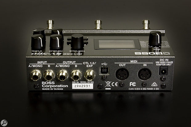The RV‑500 offers mono/stereo I/O as well as CV/expression pedal and MIDI control.