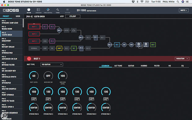 While patch creation and editing is possible on the hardware, the free software editor makes it really intuitive to configure even the most complex patch, with clear diagrams of the signal path and much of the work possible via drag and drop.