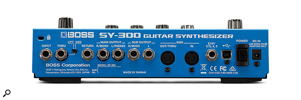 The USB connection on the rear takes care of firmware updates and audio–interfacing duties, and allows the SY‑300 to communicate with its Boss Tone Studio control software.