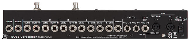 As well as the expected pedal inputs and outputs, the ES-5 features various control and expression pedal sockets, plus MIDI I/O.